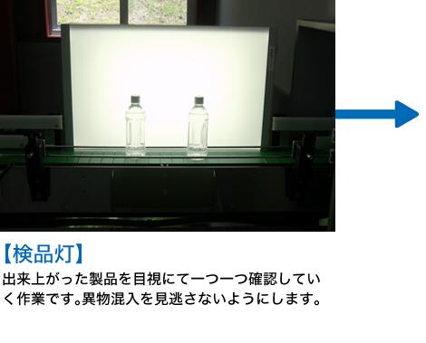 検品灯 出来上がった製品を目視にて一つ一つ確認していく作業です。異物混入を見逃さないようにします。
