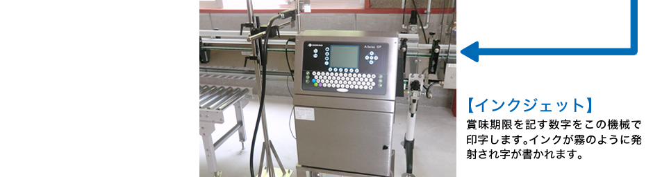 インクジェット 賞味期限を記す数字をこの機械で印字します。インクが霧のように発射され字が書かれます。